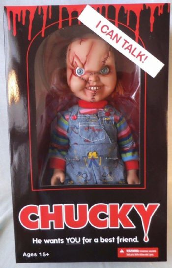 "Mezco Toys Childs Play Scarred Chucky 15"" Talking with Sound Doll Free P&P"
